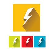 Flat lightning bolt vector icon set on square — Cтоковый вектор