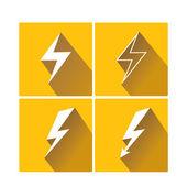 Flat lightning bolt vector icon set on square — Vetorial Stock