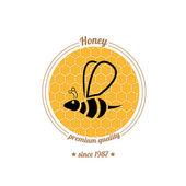 Vector  bee icon on honey comb background — Stock Vector
