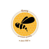 Vector  bee icon on honey comb background — Stock Vector