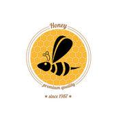 ícone de abelha vetor sobre fundo de pente do mel — Vetor de Stock