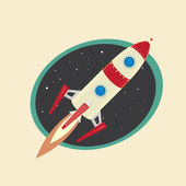 Vintage style retro poster of Space rocket — Stock Vector
