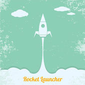 Vintage style retro poster of Rocket launcher — Stock Vector
