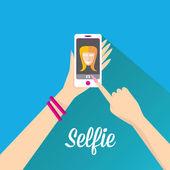 Taking Selfie Photo on Phone . vector illustration — Stock Vector