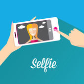 Taking Selfie Photo on Phone . vector illustration — Stock Vector