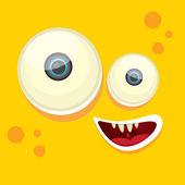 Wektor kreskówki pomarańczowy potwór twarz — Wektor stockowy