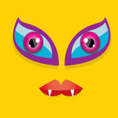Vector Cartoon orange monster face — Stock Vector