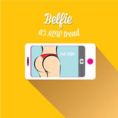 Taking Belfie Photo on Smart Phone — Stock Vector