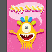 Monster party happy birthday card design template — Stock Vector