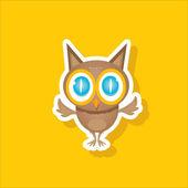 Vector cartoon cute little owl — Stock Vector