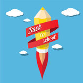 Back to school illustration with rocket pencil — Stock Vector