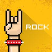 Vector pixel art hand sign rock n roll music. — Stock Vector