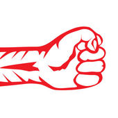 Freedom concept. vector red fist icon. — Stock Vector