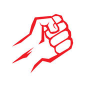 Freedom concept. vector red fist icon. — Stockvector