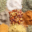 An assortment of various spices including crushed chillies, paprika, thyme and others - Foto Stock