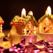 Christmas candle house — Stock Photo