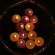 Church candles in red and yellow transparent chandeliers — Stok fotoğraf #14051595