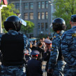 MOSCOW MAY 7: Riot police at an opposition protest against president Putins inauguration on May 7, 2012 in Moscow, Russia. — Stock Photo #14051653