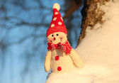 Toy Snowman in Snow — Stock Photo