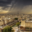 View on Paris from Notre Dame de Paris, HDR with moody sky - Stock Photo