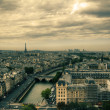View on Paris from Notre Dame de Paris, HDR with moody sky — Stock Photo