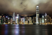 Hong Kong Island, Financial District at night shot from Kowloon at long exposure — Stock Photo