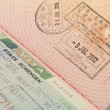 Close up shot of Schengen visa and Hong Kong visa in a passport - Stock Photo