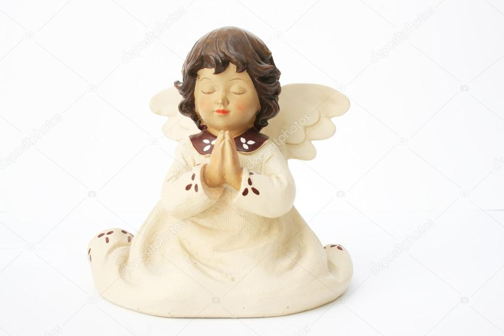 A ceramic angel praying isolated on white — Stock Photo #12080994