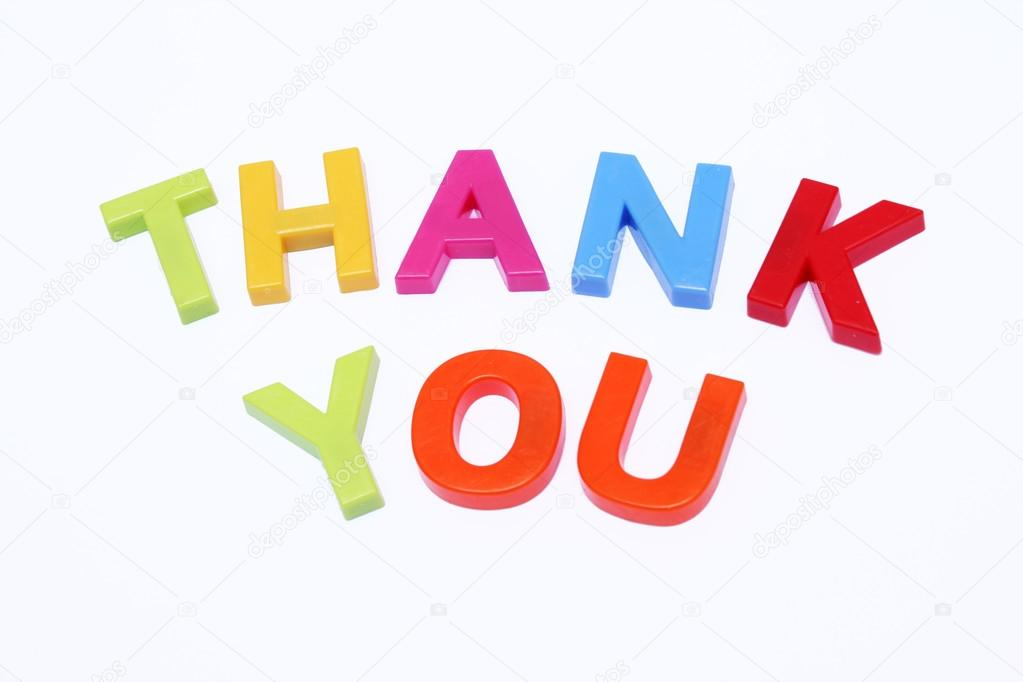 Fridge magnet spell out thank you isolated on white  Stock Photo #12675002