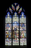 La Ferte-Bernard, stained glass — Stock Photo