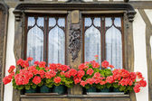 Flowered window of old house in Normandy — Stock Photo
