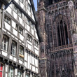 Strasbourg - Half-timbered house and cathedral — Stock fotografie