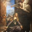 Annunciation - Painting in the San Nicola church of Tolentino - Stock Photo