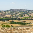 Landscape beyond a tiled roof — Stock Photo