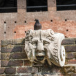 Milan (Italy) - Castello Sforzesco, ruins and pigeon — Stock Photo