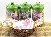 Money in banks — Stock Photo