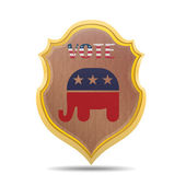 Shield with the symbol of the U.S. Republican Party — Stock Vector