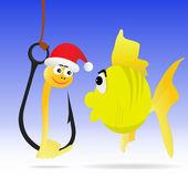 Balık ve solucan şekil gösterir — Stok Vektör