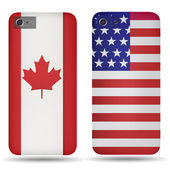 Rear covers smartphone with flags of USA and Canada — Stock Vector