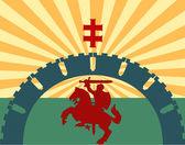 Silhouette knight — Stock Vector
