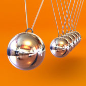 Newtons Cradle against an Orange Background — Stock Photo