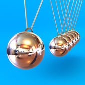 Newtons Cradle against a Blue Background — Stock Photo
