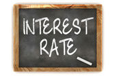 Interest Rate Blackboard — Stockfoto