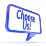 "Speech Bubble showing ""Choose Us!"" — Stock Photo #49704713"