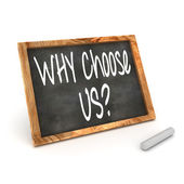 "Blackboard showing ""Why Choose Us!"" — Stock Photo"