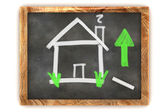 Blackboard Housing Market Rise — Stock Photo