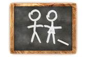 Blackboard Man and a Lady — Stock Photo