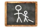 Blackboard Man and his Child — Stock Photo