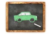 Blackboard Green Car — Stock Photo