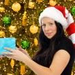 Woman with Santa Hat — Stock Photo